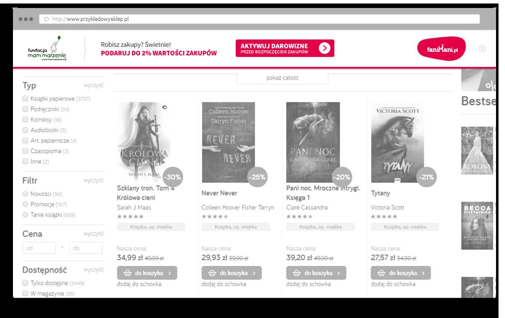Wygląd komunikatu przypominajki na stronie sklepu internetowego